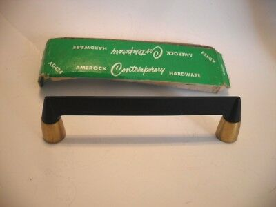 Vintage NOS Satin BLACK Drawer Pulls Cabinet Handle Brass Trim Amerock Airstream