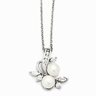 Cheryl M Sterling Silver Rho-plated CZ White Cultured Pearl Leaves 18In Necklace