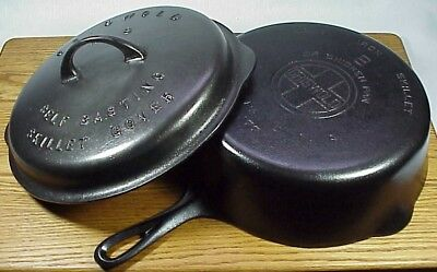 #8 GRISWOLD Large Block Logo Chicken Pan 777 & Dbl Mk'd HIGH Lid #1048A -WOW! NR