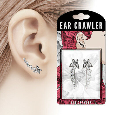 New Ear Crawler Butterfly and Bubbles Antique Silver Finish Ear Climber Pair
