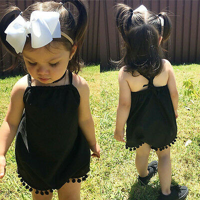 Summer Toddler Newborn Baby Girl Tassel Romper Jumpsuit Sunsuit Outfits Clothes