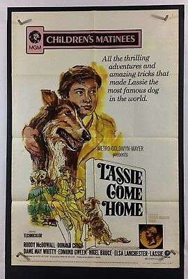 LASSIE COME HOME Movie Poster (Fine) One Sheet 1971 ReRelease Collie 029