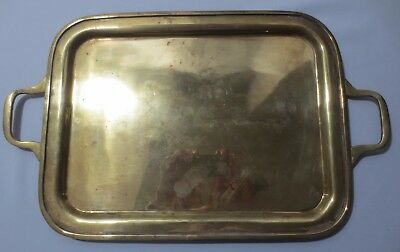 Vintage Brass Plated metal tray with handles Mid Century Arts & Crafts