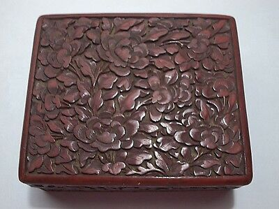 Vintage Chinese CINNABAR Box Hand Carved LOTUS Flowers 4.5""