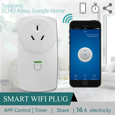 16A Wifi Smart Power AU Plug Socket Outlet Switch APP For ECHO ALEXA GOOGLE HOME