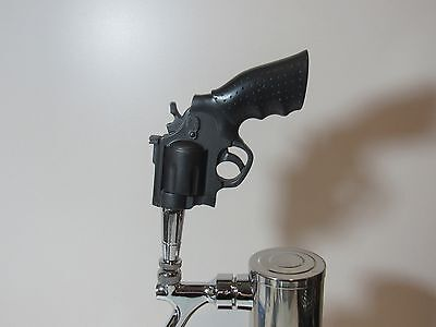 New Black Revolver Beer Tap Handle Gun Sports Bar Brew Pistol Snubnose Unique