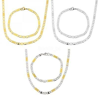 Punk Unisex Stainless Steel Jewelry Set Mariner Chain Bracelet Necklace 3 Colors
