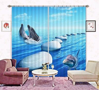 3D Stone Dolphin 5 Blockout Photo Curtain Printing Drapes Fabric Window CA Carly