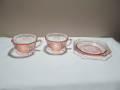 *Pink Depression Glass Mayfair Open Rose Two Cups and One Saucer