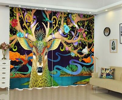 3D Flowers  Deer 6 Blockout Photo Curtain Printing Drapes Fabric Window CA Carly
