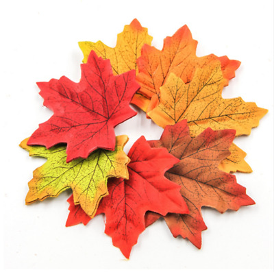 100X Artifical Maple Leaves Fake Fall Wedding Party Craft Leaf Art Home Decor J