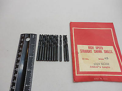 No. 15 Screw machine Drill Bits 135 degree Pack of 12 HSS  USA