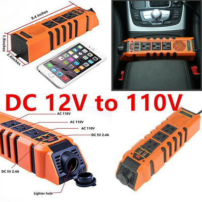 150W Modified Sin Wave Power Inverter DC12V AC110V 2 USB Charger Adapter US Plug