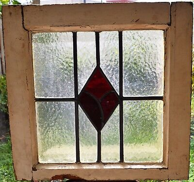 Antique Leaded English Stained Glass Window Wood Frame England Old House 76