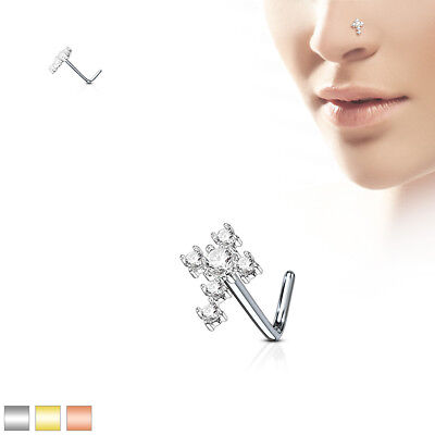 """""""L"""" Bend CZ Cross 316L Surgical Steel Nose Studs / Ring"""