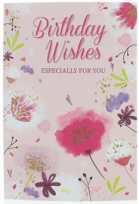 "Open Female Birthday Card - Pink Roses, Lilac Flowers & Butterfly 7.75"" x 5.25"""
