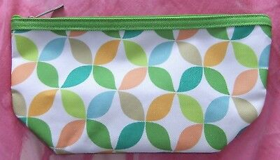 Clinique Green / Orange / White Mix Abstract Makeup / Cosmetic Bag, Brand New