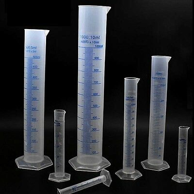 10-500ml Measuring Cylinder Plastic Graduated Laboratory Trial Test Liquid GZ