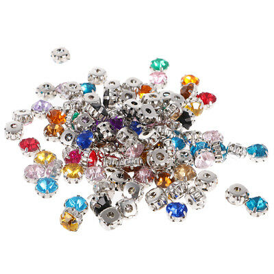 100pcs Colorful Sew On Crystals Rhinestone Faceted Beads Embellishment 8mm