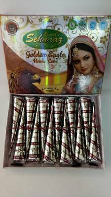 12 pcs Golecha Eagle Brown Henna Cones For Temporary Body art/ tattoos UK Seller