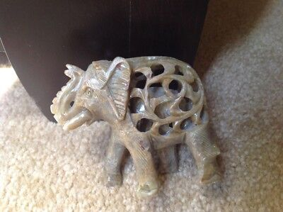 2. Alabaster Carved Indian Elephant  3 Inch Tall