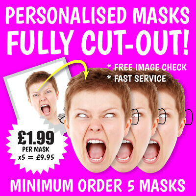 "Personalised Face Masks ""fully Cut-Out"" Stag Do Hen Night Birthday Party Photo"