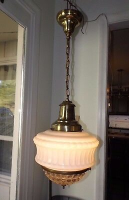 Antique 1920s Art Deco Entryway Pendant Hanging Ceiling Fixture Bradley Hubbard