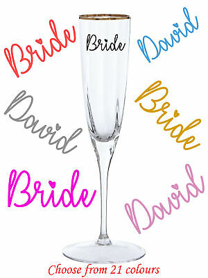 Personalised Vinyl Name Sticker Wine Champagne Glass Wedding Party Hen Decal