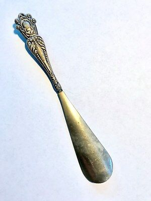 Sterling Silver Handle Shoe Horn + Lovely pattern + FREE SHIP