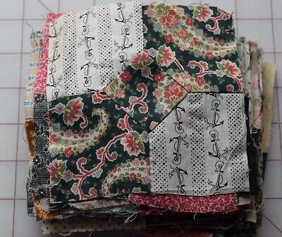 56 1870-1910 Bowtie quilt blocks, lovely variety of prints...set a