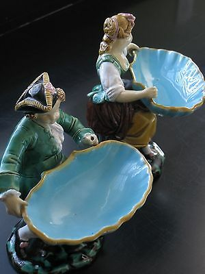 Rare Pair Antique Minton Majolica Boy/Girl Sweetmeats Dish Circa 1860 -Lovely!