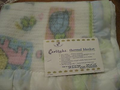 NOS Vintage Carldyke Thermal Baby Blanket Lovey Satin Trim Animals Carriage Robe