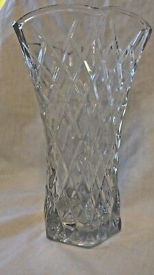 "EO BRODY CO. Vintage Heavy Clear Glass Vase #C925 Diamond Pattern 8"" High 5"" Dia"