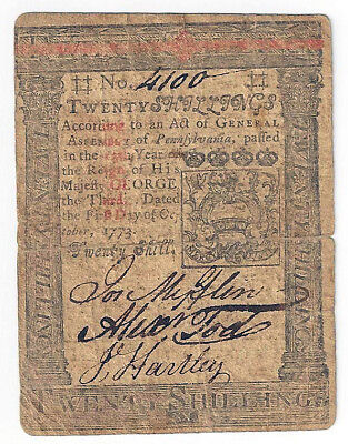 1773 Pennsylvia  Twenty Shillings Colonial Note (No. 4100) - 0782