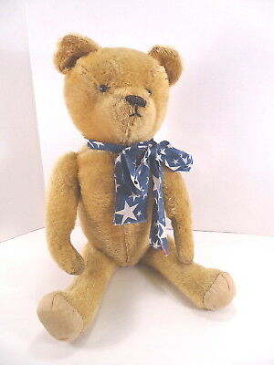 "c1910 Ideal Teddy Bear Gold Mohair Shoe Button Eyes Excellent Condition 20"" Tall"