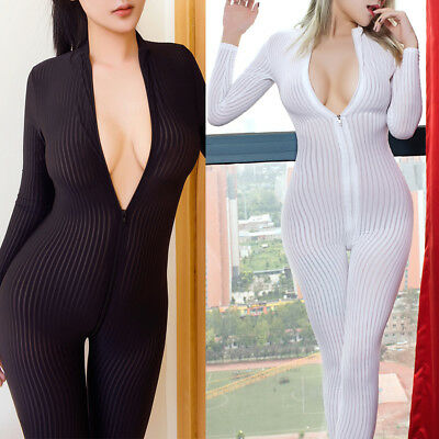 Women Striped Sheer Bodysuit Open Crotchless Jumpsuit Zipper Long Sleeve Clothes