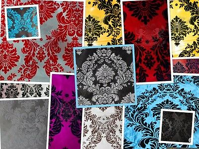"Taffeta Damask Velvet Flocking Fabric 58"" Wide Sold By The Yard"