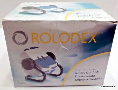 New in box Rolodex black noir rotary card file Sanford 2 1/4 x 4 in. Addresses