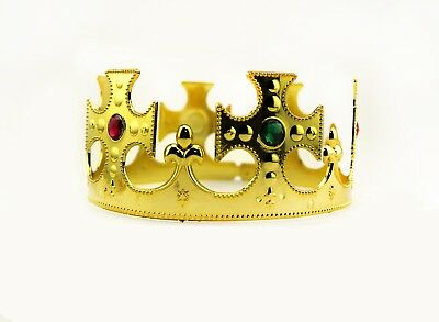 Gold Royalty Plastic king Queen Crown Princess Tiara Prince Crown Costume