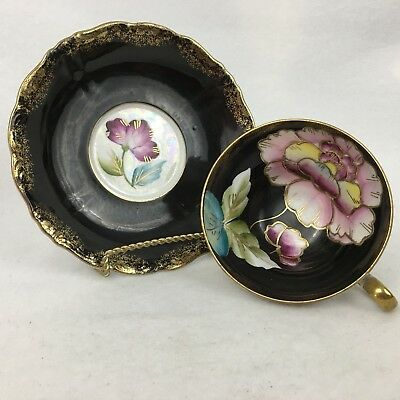 Vintage Royal Sealy China Tea Cup and Saucer Black Flowers Hand Painted Japan