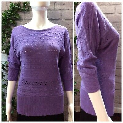 New York & Co. Womens Knit Top Size XS Purple Semi-Sheer Quarter Sleeves M1068