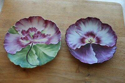 Lot of 2 Vintage WHEELOCK Vienna Hand Painted Porcelain Floral Motif Plates