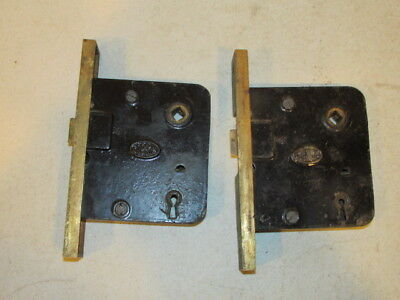 Antique Lot of 2 Corbin Large Door Lock Assembly VFC Need Cleaning
