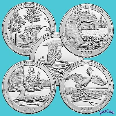 2018 P&d National Parks Quarters Five Releases 10 Uncirculated Quarters Total