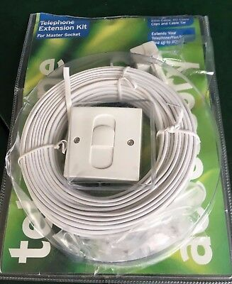 Telephone Phone Extension Lead Wire Cable Socket Plug In Adaptor Kit 20M