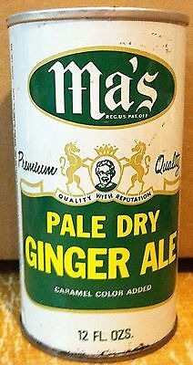 Ma's Pale Dry Ginger Ale Can Rare Vintage 1972 Pull Top Attached (Can Is Empty)