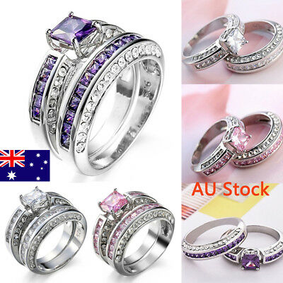 2PCS 925 Sterling Silver Engagement Rings For Women Lady Zircon Wedding Jewelry