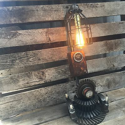 Steampunk Industrial Machine Age-Lamp man cave antique tractor allis  gears