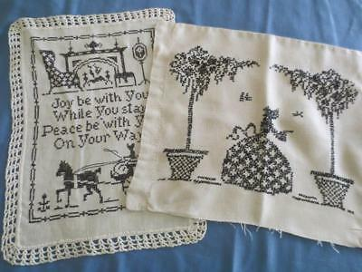 Antique Black & Beige Hand Worked Pillow Cover and Finished Needlework