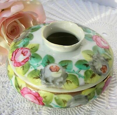 Vintage Antique Porcelain Hair Receiver Pink Green Yellow Floral Scalloped Hole